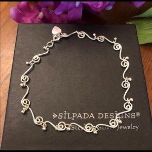 Silpada Sterling Silver Swirl Heart Ankle Bracelet